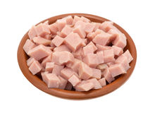 Diced ham in a small bowl Royalty Free Stock Image