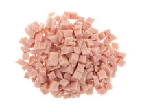 Diced ham on a white background stock photos