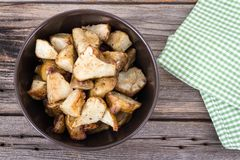 Homemade roasted jerusalem artichoke sunchoke dish Royalty Free Stock Image