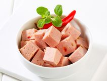 Diced Leberkase Stock Photography