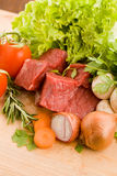 Diced meat with vegetables Royalty Free Stock Photo