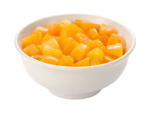 Diced Peaches isolated Royalty Free Stock Photography