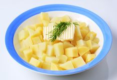 Diced potatoes Royalty Free Stock Images