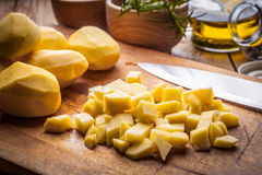 Diced potatoes. Royalty Free Stock Images