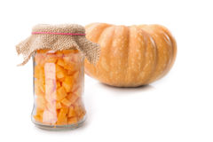 Diced Pumpkin In A Glass Jar. Royalty Free Stock Image