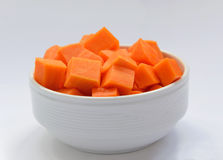 Diced pumpkin in a plate Royalty Free Stock Photography