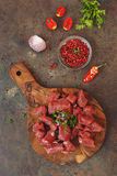 Diced raw angus beef meat  and ingredients Stock Image