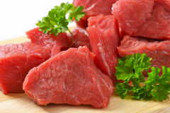 Diced raw beef Stock Image
