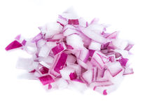 Diced Red Onion (isolated on white) Stock Photos