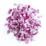 Diced Red Onion (isolated on white) Royalty Free Stock Photography
