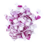 Diced Red Onion (isolated on white) Stock Photography