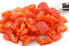 Diced Red Pepper Stock Photography