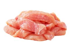 Diced turkey breast. Skinless diced turkey breast isolated on white royalty free stock image