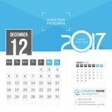Dicembre 2017 Calendario 2017 Immagine Stock