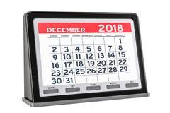 Dicembre 2018 calendario digitale, rappresentazione 3D Immagini Stock