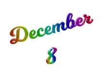 8 dicembre data del calendario di mese, 3D calligrafico ha reso l'illustrazione del testo colorata con la pendenza dell'arcobalen royalty illustrazione gratis
