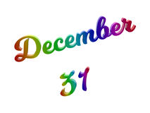 31 dicembre data del calendario di mese, 3D calligrafico ha reso l'illustrazione del testo colorata con la pendenza dell'arcobale illustrazione di stock