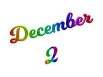 2 dicembre data del calendario di mese, 3D calligrafico ha reso l'illustrazione del testo colorata con la pendenza dell'arcobalen royalty illustrazione gratis