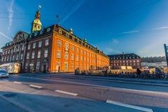 2 dicembre 2016: Facciata della stazione ferroviaria del ` s di Copenhaghen, Denma Fotografie Stock