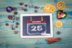 25 dicembre giorno di Natale Fondo del bordo di gesso Fotografia Stock