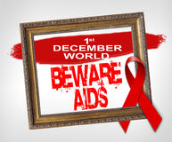 1° dicembre il mondo SI GUARDA DALL'AIDS, concetto di Giornata mondiale contro l'AIDS con il nastro rosso Fotografia Stock Libera da Diritti