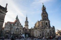 Dicembre 2016, la gente cammina intorno al quadrato principale di Dresda Immagine Stock Libera da Diritti