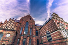 4 dicembre 2016: Lato della cattedrale di St Luke in Roskil Fotografie Stock Libere da Diritti