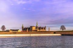 3 dicembre 2016: Panorama del castello di Kronborg a Helsingor, tana Immagini Stock Libere da Diritti