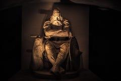 3 dicembre 2016: Parte anteriore di Holger Danske dentro il castello di Kronborg Fotografia Stock