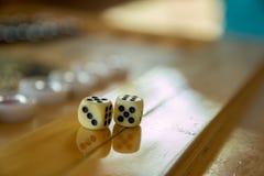 Dices для нард Задний конец игры таблицы gammon вверх по съемке Стоковое Изображение RF