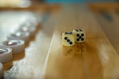 Dices для нард Задний конец игры таблицы gammon вверх по съемке Стоковые Изображения