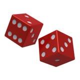 dices изолированная белизна красного цвета 2 Стоковые Фото