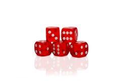 5 dices изолированный на белизне Стоковое Изображение RF