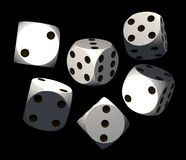 Dices. Isolated white dices on black background - 3d render illustration Stock Photo