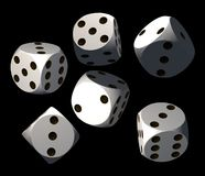 Dices. Isolated white dices on black background - 3d render illustration Stock Image