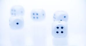 Dices. On white background. blue Stock Image