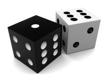 Dices. 3d illustration of black and white dices, over white background Royalty Free Stock Images