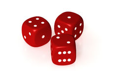 Dices. Three red dices isolated over a white background. This is a 3D rendered picture royalty free stock photos