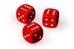 Dices. Three red dices isolated over a white background. This is a 3D rendered picture royalty free illustration