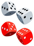 Dices. Two white and two red dices Royalty Free Stock Photo