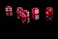 Dices. Red dices isolated with reflection Royalty Free Stock Photos