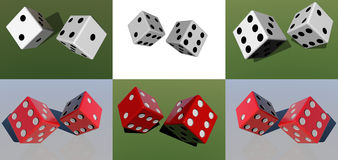 Dices. White and red dices in 3 D Stock Images