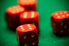 Dices. Five red dices all with the six on top Royalty Free Stock Photos