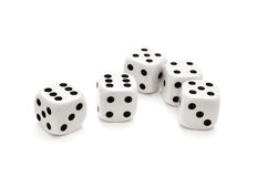 Dices. Five dices on a white background Royalty Free Stock Photos