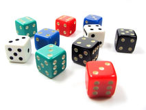 Dices. Some colored dices on a white background Stock Images