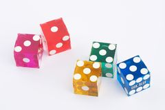 Dices. Five colored dices on white Background - f?rbige Spielw?vor weissem Hintergrund Royalty Free Stock Photo