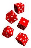 dices 5 изолировал красную белизну Стоковое Изображение RF