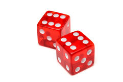 Dices 6x6. Two red dices. Six on top Stock Photos