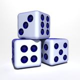 Dices. Three game cubes on white background Royalty Free Stock Image
