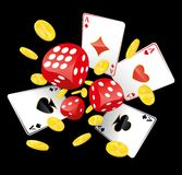 Dices, aces and coins Royalty Free Stock Photos